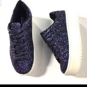 Cape Robbin Navy Blue Glitter Platform Sneakers